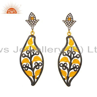 Oxidized And 18K Gold Plated Sterling Silver White Zircon Designer Earrings