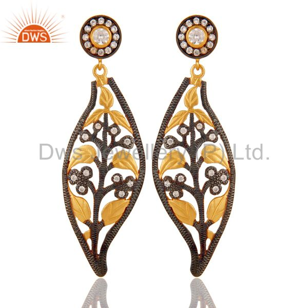925 Sterling Silver Gold Plated Stunning Cubic Zirconia Designer Dangle Earring