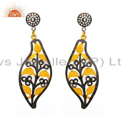 18K Gold Plated Sterling Silver Cubic Zirconia Floral Designer Dangle Earrings