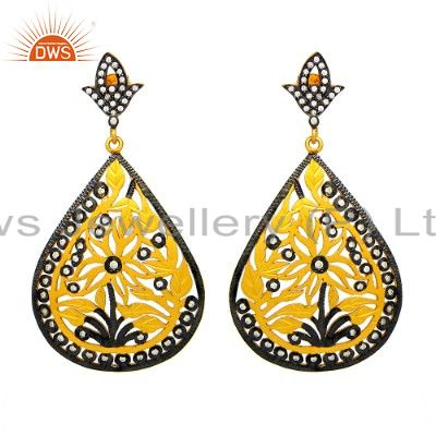 18K Gold Plated Sterling Silver Cubic Zirconia Floral Designer Teardrop Earrings