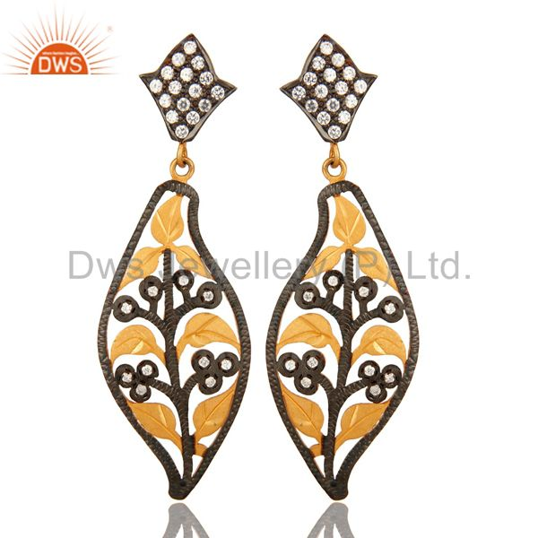 Black Rhodium Plated Sterling Silver White CUbic Zirconia Fashion Earrings