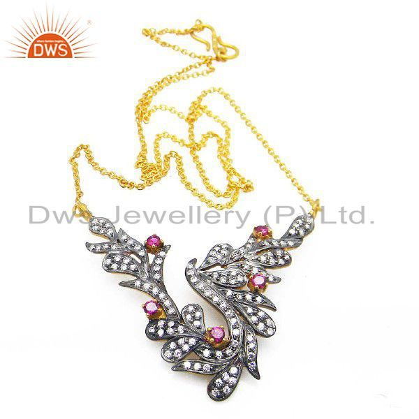 Black Rhodium Plated Sterling Silver Red And White Cubic Zirconia Necklace