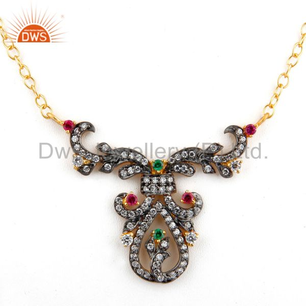 Black rhodium plated multi colored cubic zirconia women antique look necklace