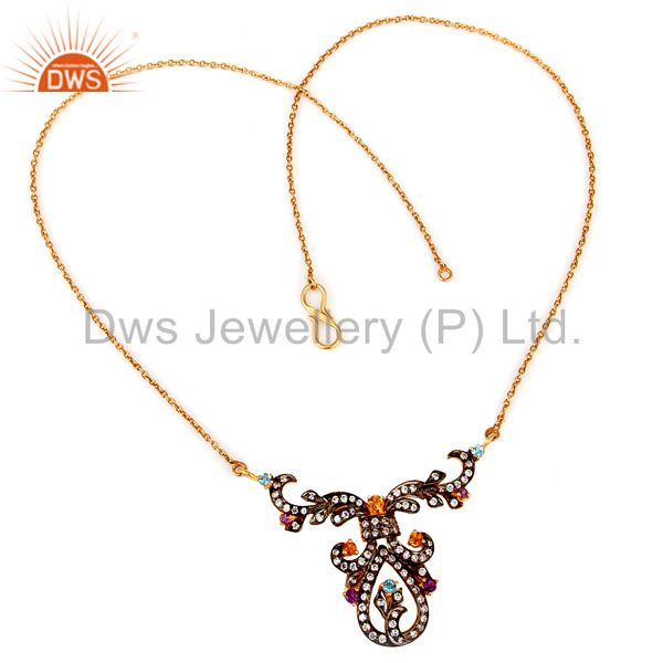 Vintage designer white zircon 925 sterling silver gold plated fashion necklace