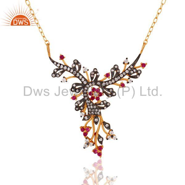 925 Sterling Silver Cubic Zirconia Peacock Design Pendant Necklace For Women
