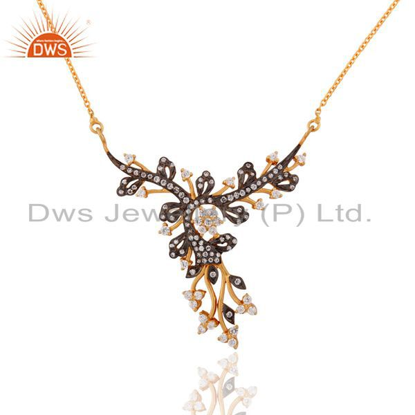 925 sterling silver stunning white zircon accent peacock design pendant necklace