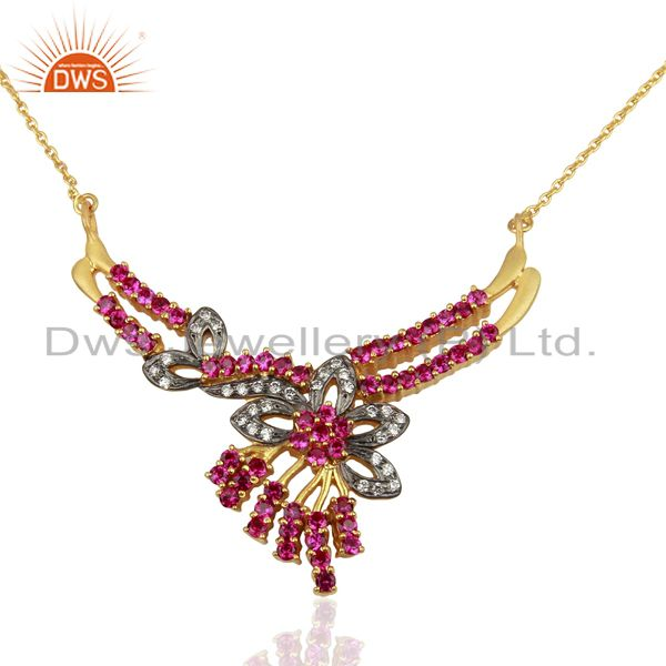 Sterling Silver With Gold Plated Mix Color Cubic Zirconia Prong Setting Necklace