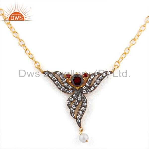 Pearl Fashion Jewelry Gift Red Garnet 24k Yellow Gold Gp Pendant Necklace Chain