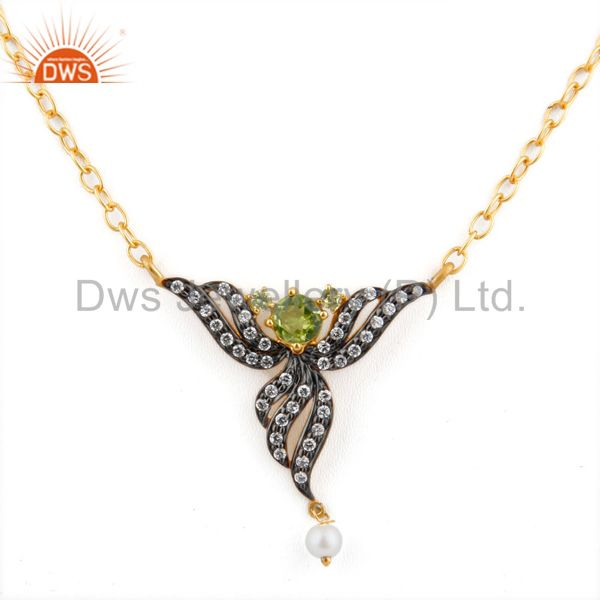 Ladies Peridot Gemstone Pendant Zircon 18k GOld GP Fashion Bridal Party Necklace