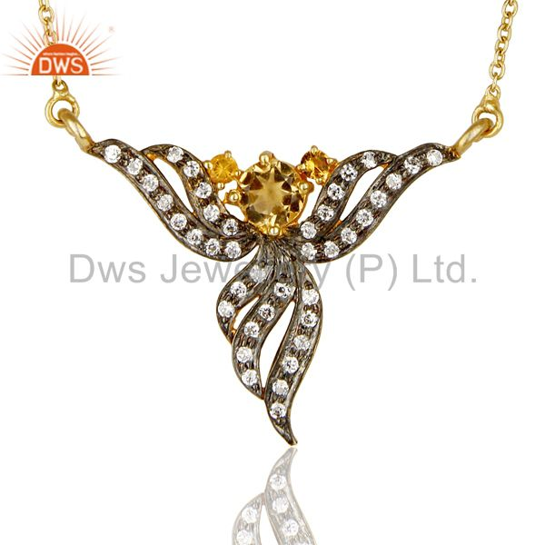 18K Gold Plated Sterling Silver Citrine And Cubic Zirconia Necklace