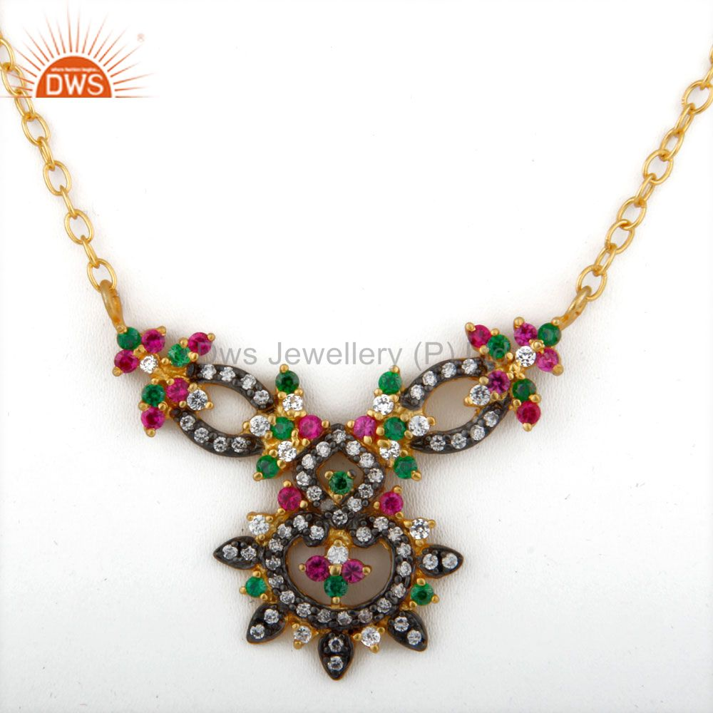 18k yellow gold plated multi-colored cubic zirconia necklace fashion jewelry