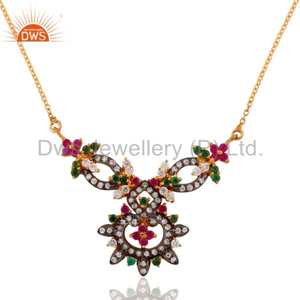 18k gold plated cubic zirconia 925 sterling silver chain women pendant necklace