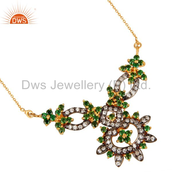 Gold Plated 925 Sterling Silver With Cubic Zirconia Designer Womens Necklace
