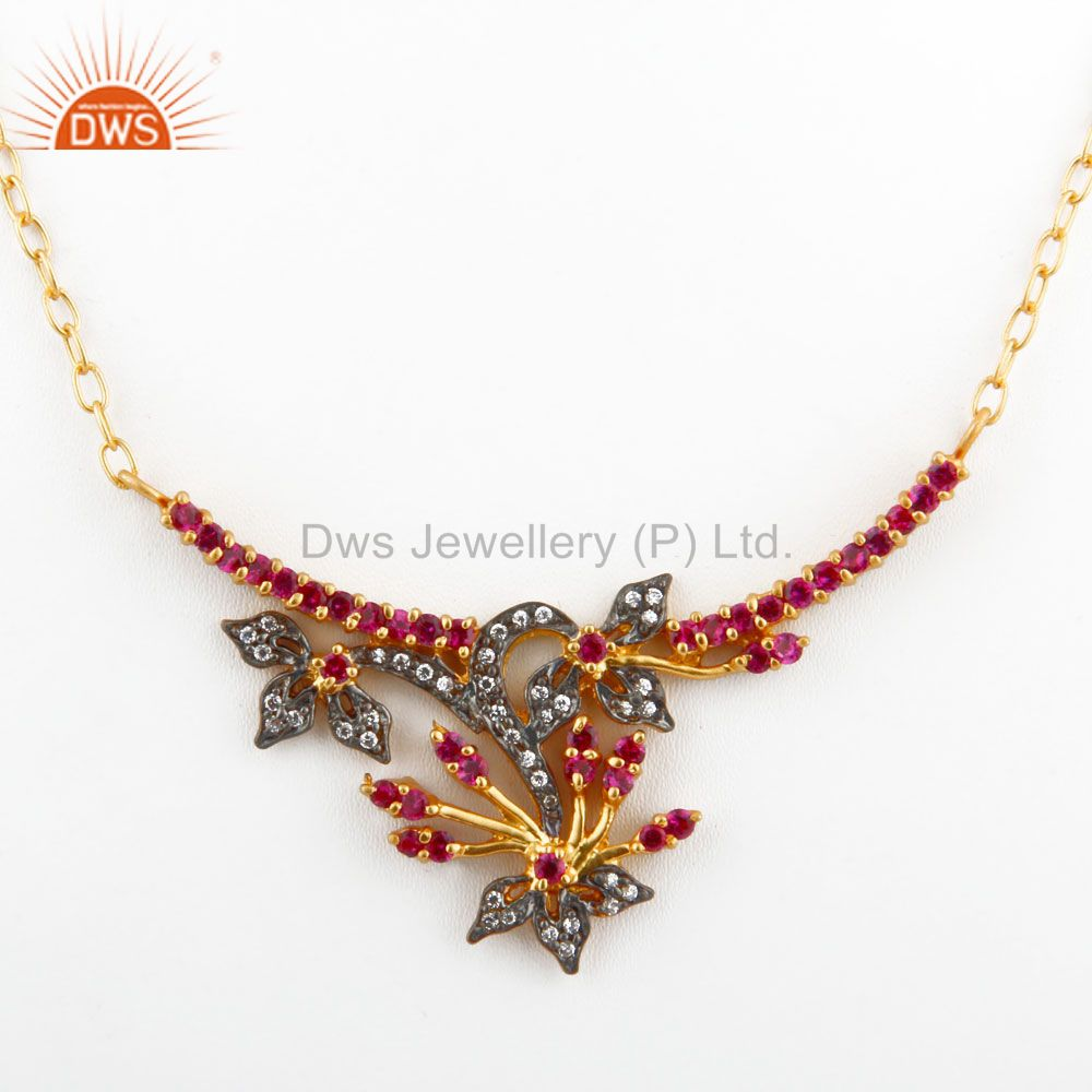 18K Yellow Gold Plated Multi-colored Cubic Zirconia Antique Style Necklace