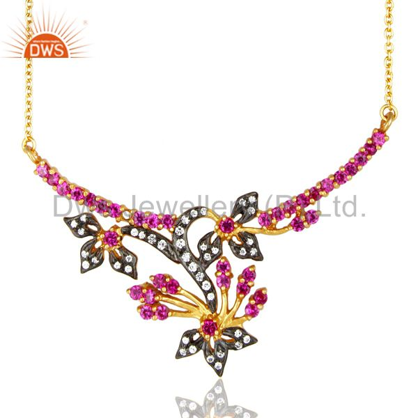 Red Cubic Zirconia 925 Sterling Silver Necklace With 18K Yellow Gold Plated