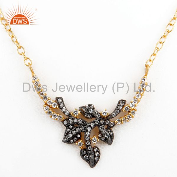"""16"""" inch 18k gold plated ladies white zircon pendant fashion floral design chain necklace"""
