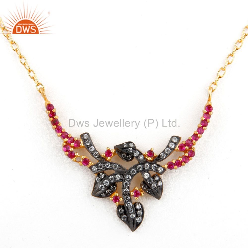 White And Red Cubic Zirconia 18K Yellow Gold Plated Sterling Silver Necklace