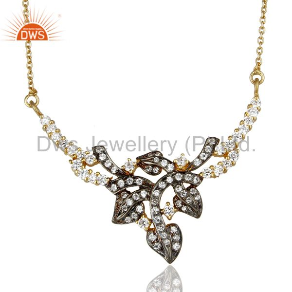 18K Yellow Gold Plated 925 Sterling Silver White Zircon Ladies Fashion Necklace