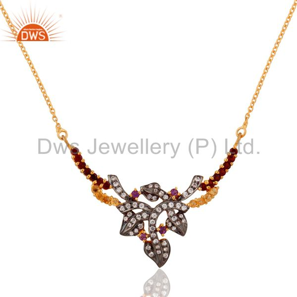 18K Gold Plated Sterling Silver Garnet, Citrine And CZ Designer Fashion Necklace
