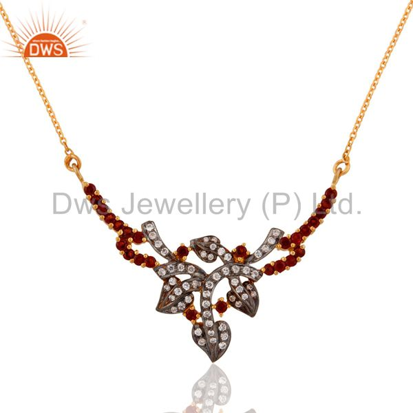 Natural Garnet Gemstone White Zircon Designer Pendant Sterling Silver Necklace
