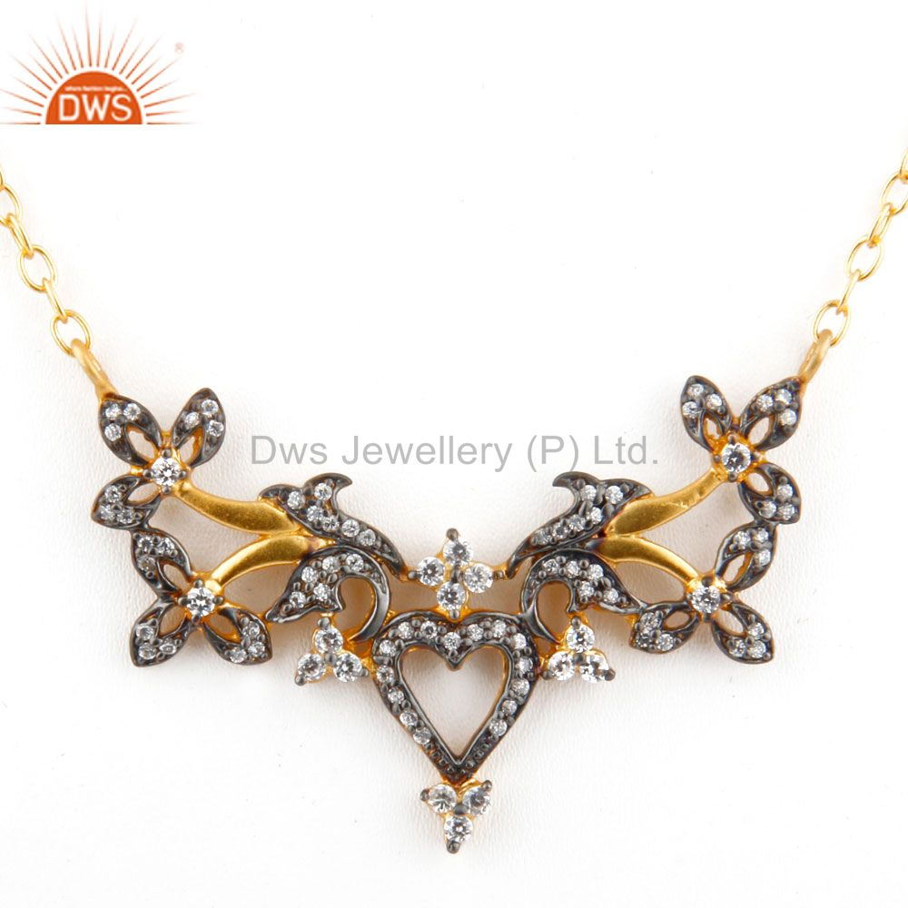 18K Yellow Gold Plated Brass Cubic Zirconia Designer Fashion Necklace