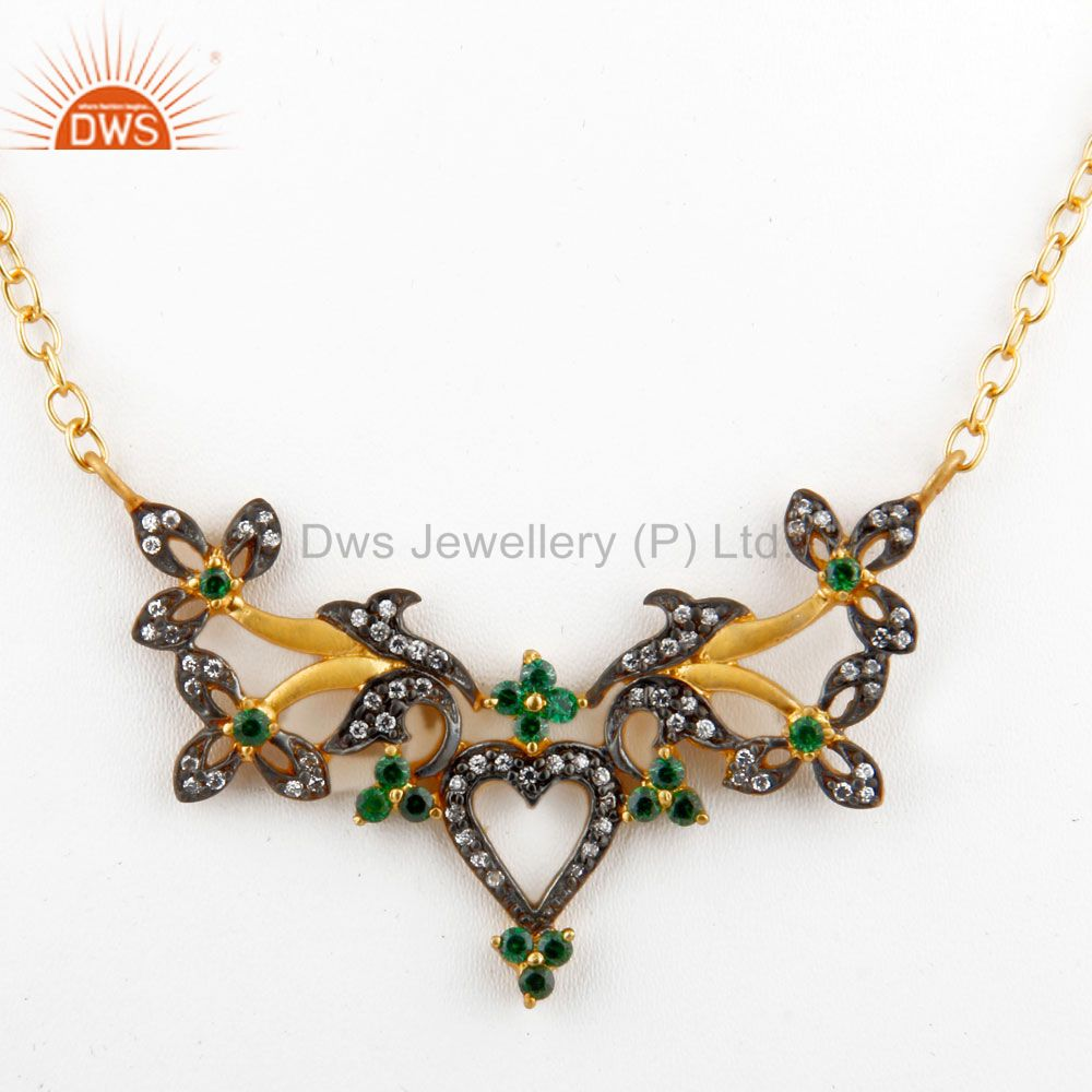 18K Yellow Gold Plated Brass Cubic Zirconia Unique Design Fashion Necklace