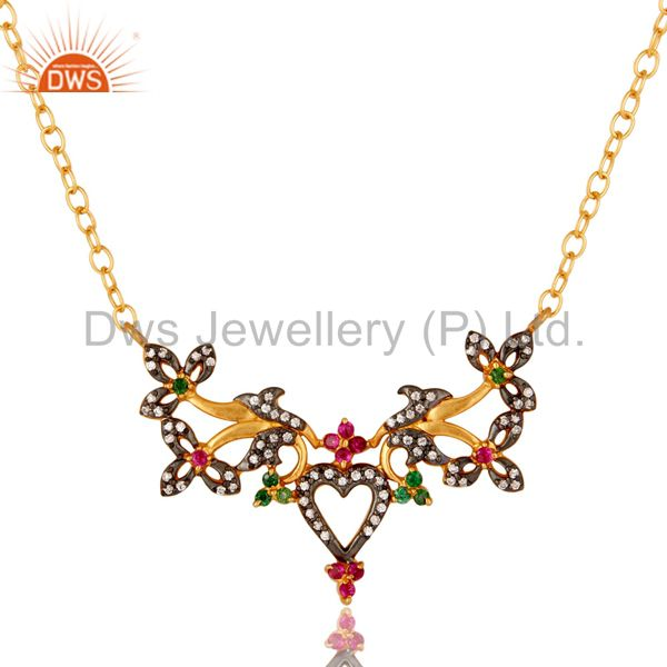 18K Yellow Gold Plated Brass Multi Cubic Zirconia Unique Design Fashion Necklace