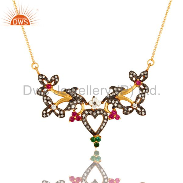 18K Yellow Gold Plated Sterling Silver Cubic Zirconia Designer Fashion Necklace