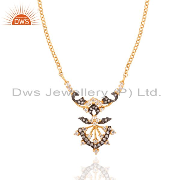 22K Yellow Gold Plated Sterling Silver Cubic Zirconia Designer Fashion Necklace