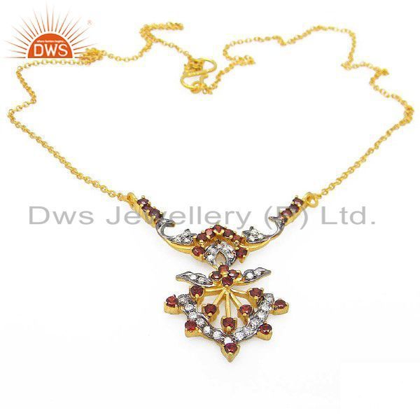 18K Yellow Gold Plated Sterling Silver Garnet And CZ Fashion Necklace