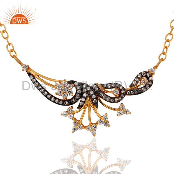 Designer 18k Gold Plated Stunning White Cubic Zirconia Handmade Necklace Jewelry