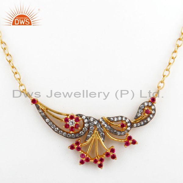 Fashion Women Cubic Zirconia Free Chain Red Rhinestones Yellow Gold Pendant Neck
