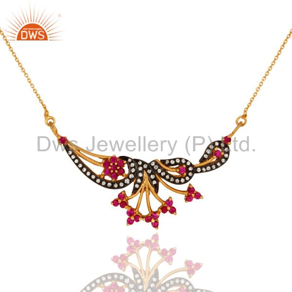 925 sterling silver antique style white zircon gold plated handmade necklace