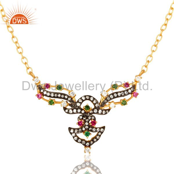 14K Yellow Gold Plated Sterling Silver Cubic Zirconia Designer Fashion Necklace