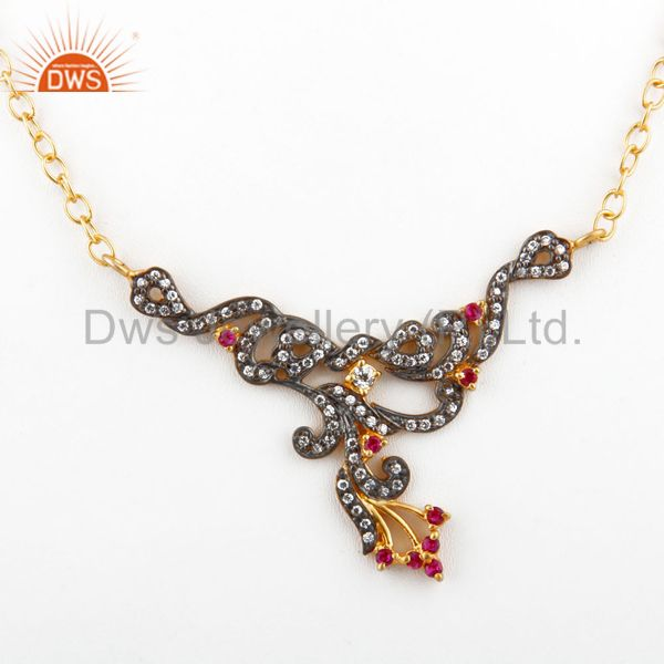 Designer Red Cubic Zirconia Ladies Fashion Necklace With Yellow Gold Plated