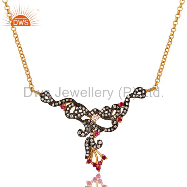 18K Gold Plated Sterling Silver Multi Cubic Zirconia Womens Fashion Necklace