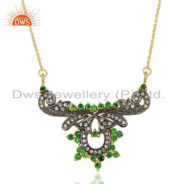 18K Yellow Gold Plated Designer Cubic Zirconia Bridal Fashion Necklace