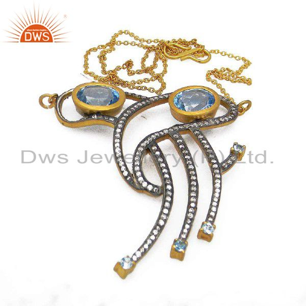 18k yellow gold plated sterling silver blue topaz and cz pendant with chain