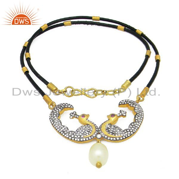 18K Yellow Gold Plated Sterling Silver Pearl & CZ Peacock Designer Necklace