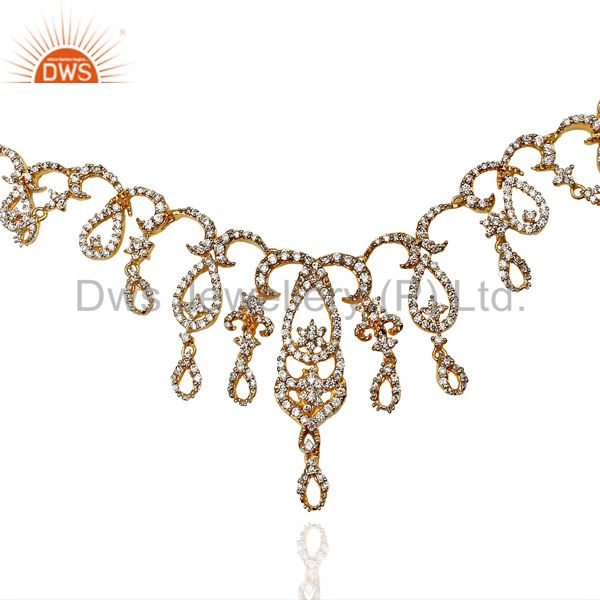 24K Yellow Gold Plated Sterling Silver Cubic Zirconia Designer Fashion Necklace