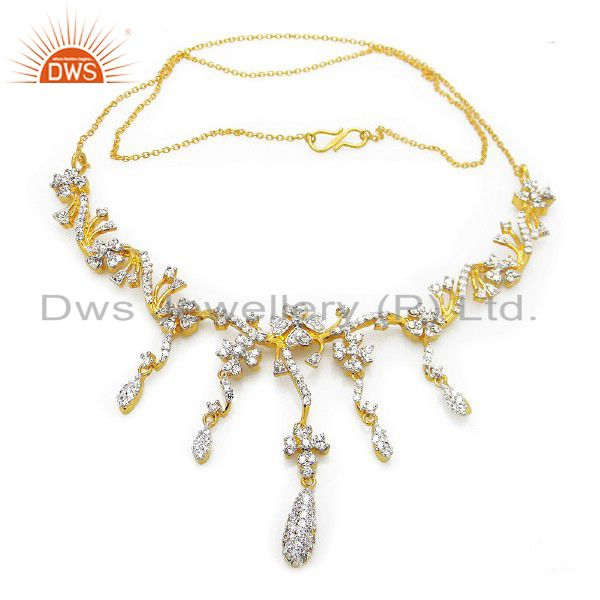 18K Yellow Gold Plated Sterling Silver Cubic Zirconia Bridal Fashion Necklace