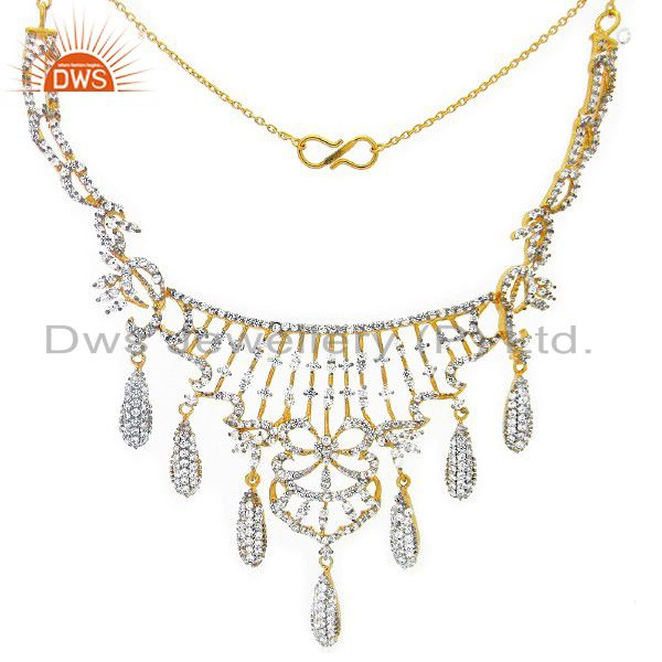 18K Yellow Gold Plated Sterling Silver Cubic Zirconia Wedding Necklace