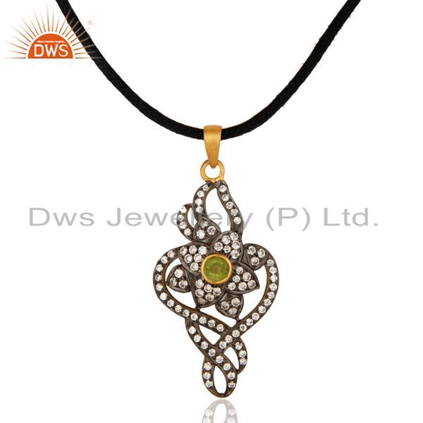Top Quality Gemstone Peridot 18K Gold Over Sterling SIlver White Zircon Pendant