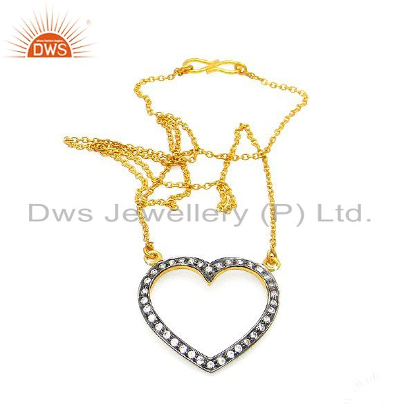 14K Yellow Gold Plated Sterling Silver Cubic Zirconia Heart Designer Necklace