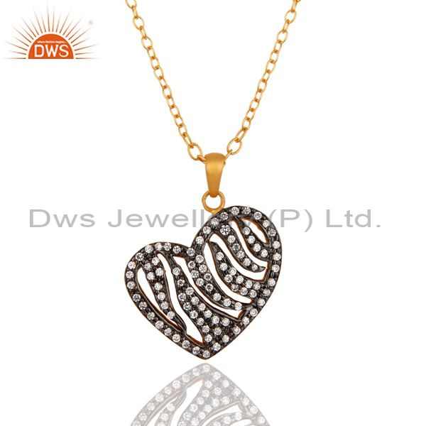 18K Gold Plated Plated Cubic Zirconia Heart Pendant With 16