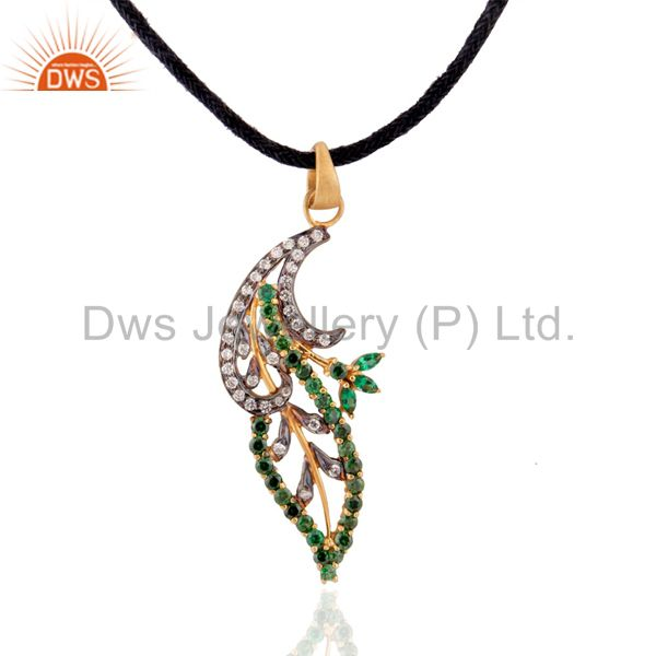 """Ladies .925 sterling silver green color cz 18k gold plated pendant 16"""" necklace"""
