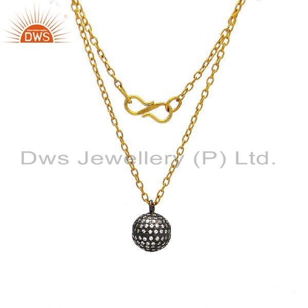 14K Yellow Gold Plated Sterling Silver Cubic Zirconia Spheres Designer Necklace