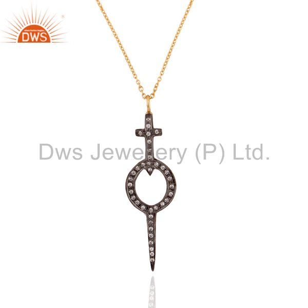 "925 Sterling Silver Pave Set White Zircon Cross Pendant 18k Gold GP 17"" Necklace"