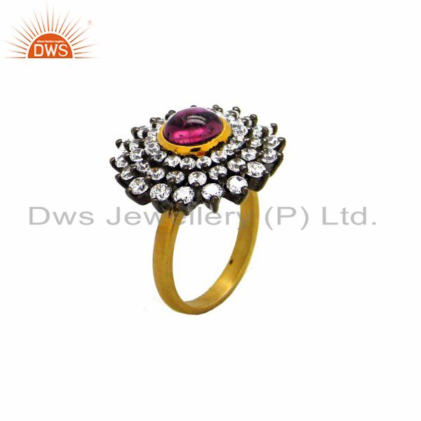18K Yellow Gold Plated Brass Pink Glass And Cubic Zirconia Fashion Cocktail Ring