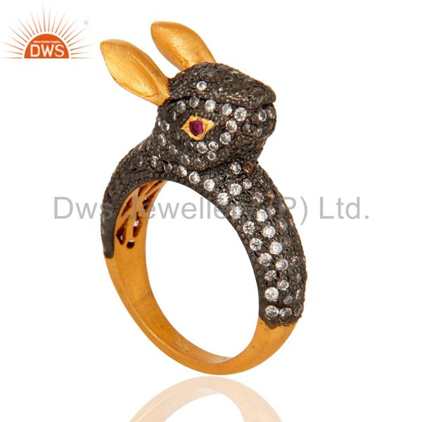Unique 925 Sterling Silver Cubic Zirconia 18K Gold Plated Rabbit Designer Ring